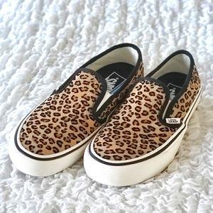 Vans mini leopard print loafers womens siz…